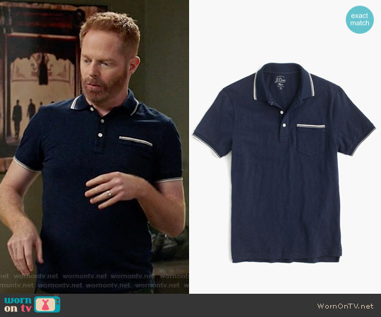 J. Crew Textured Cotton Tipped Polo Shirt in Navy worn by Jesse Tyler Ferguson on Modern Family