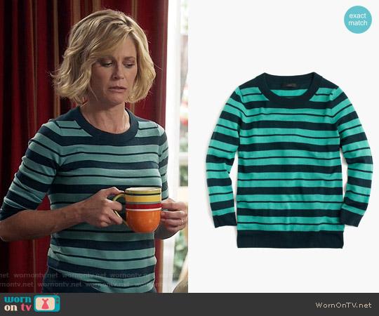 J. Crew  Tippi Sweater in Mixed Stripe in Verdigris Sherwood worn by Julie Bowen on Modern Family