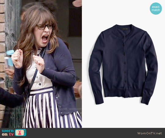 J. Crew Jackie Cardigan in Navy worn by Jessica Day on New Girl
