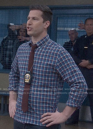 Jake's blue, red, and white checked shirt on Brooklyn Nine-Nine