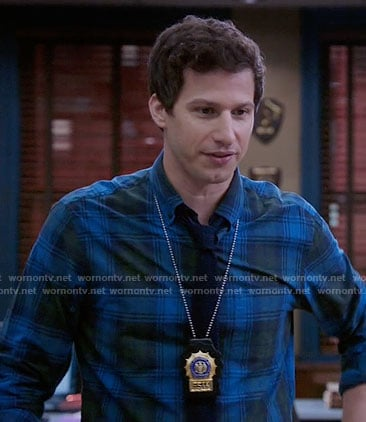Jake's blue and green plaid shirt on Brooklyn Nine-Nine
