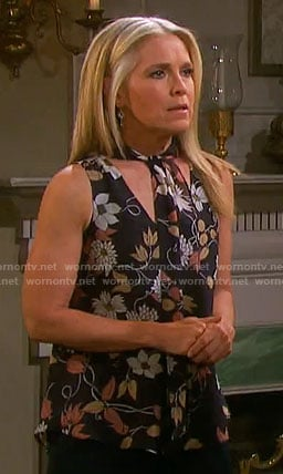 Jennifer's floral tie neck top on Days of our Lives
