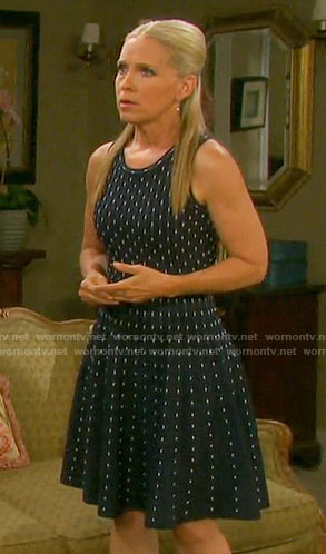 Jennifer's navy dotted stripe dress on Days of our Lives