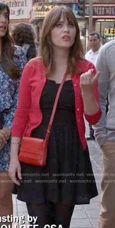 Jess's black romper and red cardigan on New Girl