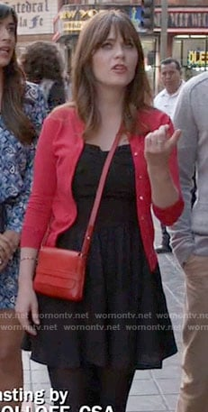 Jess's black dress and red cardigan on New Girl