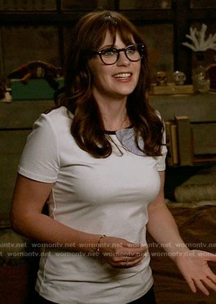 Jess's bow neck tee on New Girl