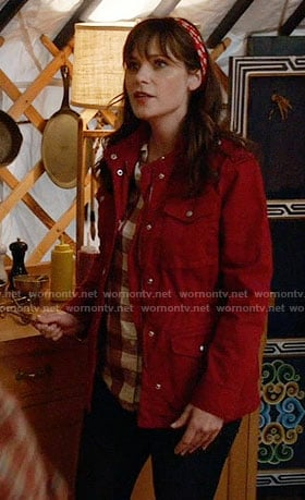 Jess's red utility jacket on New Girl