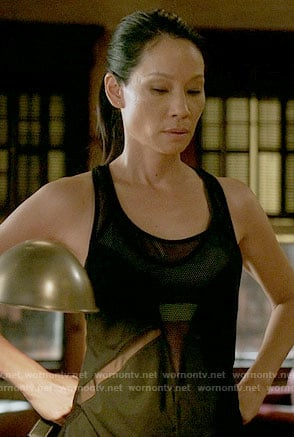 Joan's black mesh panel tank top on Elementary