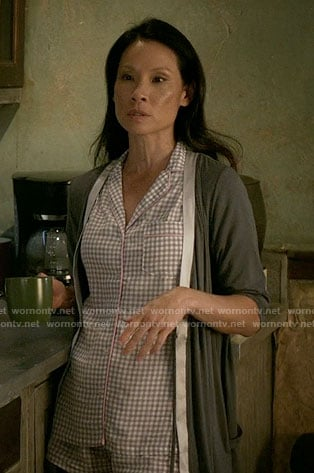 Joan's gingham checked pajamas and satin trim robe on Elementary