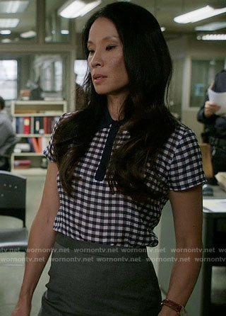 Joan's gingham checked collared top on Elementary