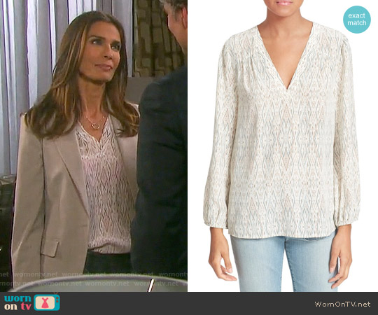 Joie Avonmora Ikat Print Silk Blouse worn by Kristian Alfonso on Days of our Lives