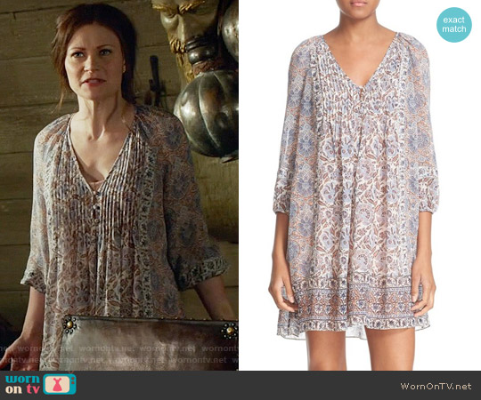 Joie Foxley Floral Silk Peasant Dress worn by Emilie de Ravin on OUAT