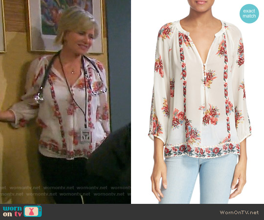 Joie Gloria Floral Blouse worn by Mary Beth Evans on Days of our Lives
