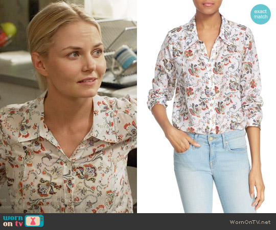 Joie 'Katrine' Paisley Cotton & Silk Blouse worn by Jennifer Morrison on OUAT
