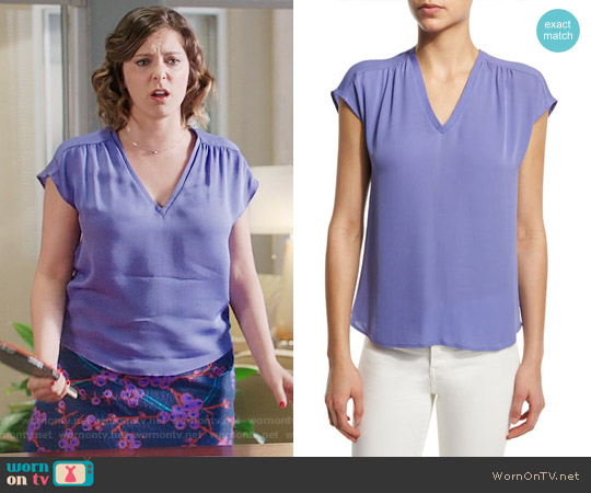 Joie Suela Top in Periwinkle worn by Rebecca Bunch (Rachel Bloom) on Crazy Ex-Girlfriend