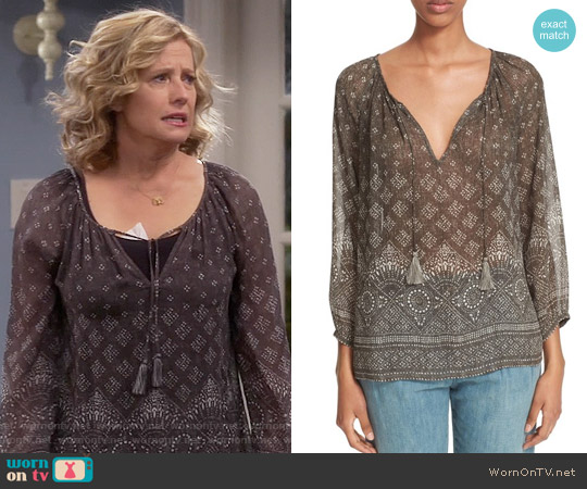 Joie Tullis Blouse in Fatigue worn by Nancy Travis on Last Man Standing