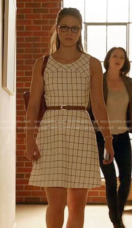 Kara's white windowpane checked dress on Supergirl
