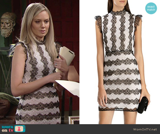 Karen Millen Color-Blocked Lace Dress worn by Melissa Ordway on The Young & the Restless