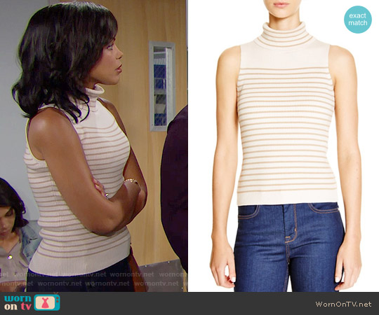 Karen Millen Striped Rib Knit Top worn by Maya Avant (Karla Mosley) on The Bold & the Beautiful