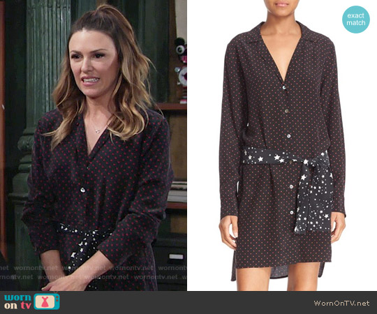 Kate Moss for Equipment 'Rosalind' Belted Silk Shirtdress worn by Elizabeth Hendrickson on The Young & the Restless