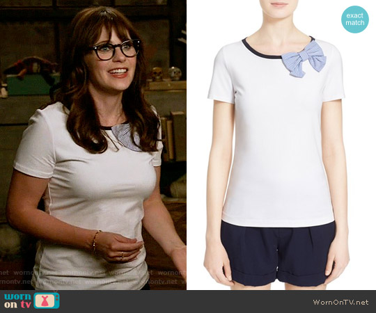 Kate Spade Bow Tee worn by Jessica Day (Zooey Deschanel) on New Girl