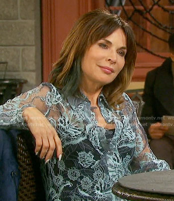 Kate's sheer blue lace blouse on Days of our Lives