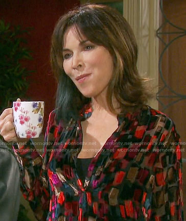 Kate's geometric patterned blouse on Days of our Lives