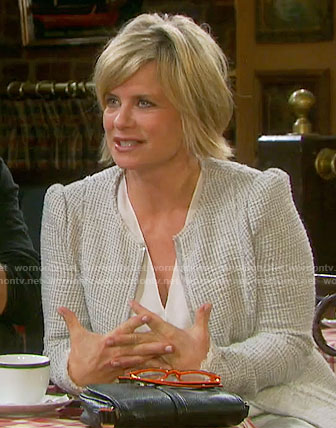 Kayla's off-white tweed jacket on Days of our Lives