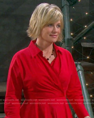Kayla's red wrap dress on Days of our Lives