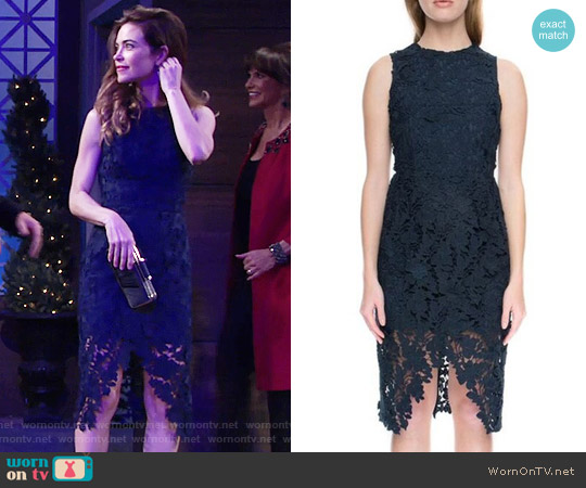 Keepsake 'Say My Name' Lace Sheath Dress worn by Victoria Newman (Amelia Heinle) on The Young & the Restless