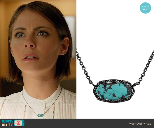 Kendra Scott Elisa Necklace in Variegated Teal Magnesite worn by Thea Queen on Arrow