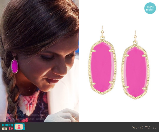 Kendra Scott Elle Earrings in Magenta worn by Mindy Lahiri on The Mindy Project
