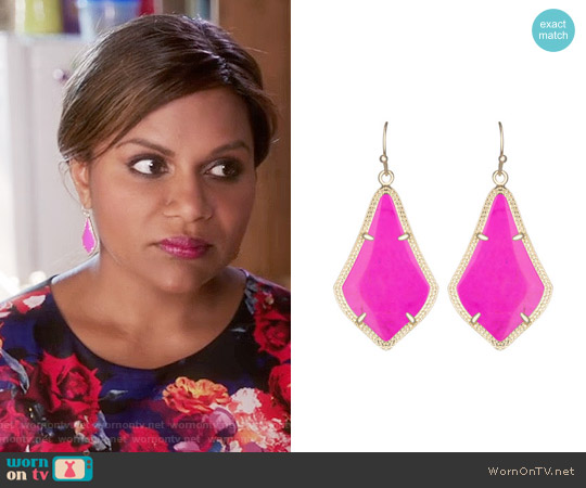 Kendra Scott Magenta Alex Earrings worn by Mindy Lahiri on The Mindy Project