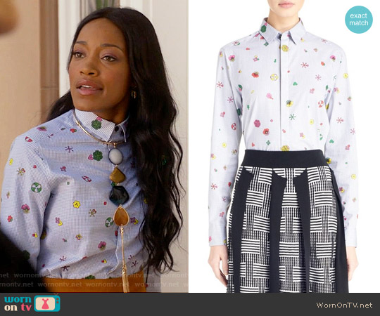Kenzo Tanami Flower Shirt worn by Zayday Williams on Scream Queens