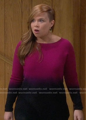 Kristin's pink ombre sweater on Last Man Standing