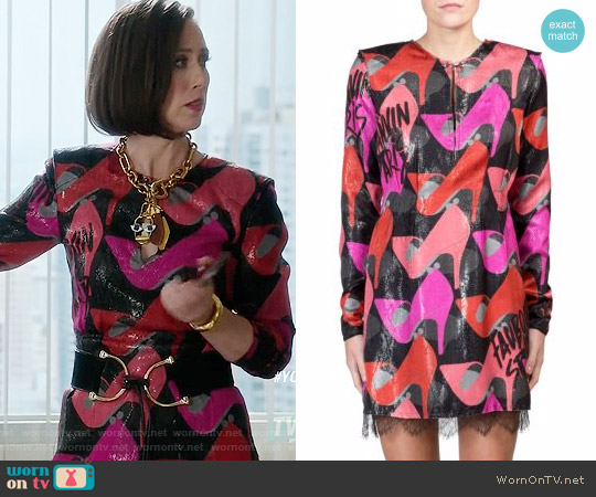 Lanvin Lace-Trim Shoe-Print Dress worn by Diana Trout (Miriam Shor) on Younger
