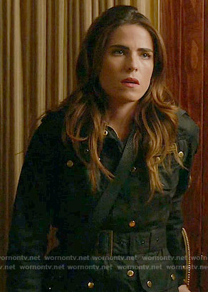 Laurel's navy jacket with gold buttons on How to Get Away with Murder
