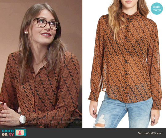 Leith Ruffle Neck Long Sleeve Top in Rust Ginger Bird worn by Mara McCaffray on The Young & the Restless