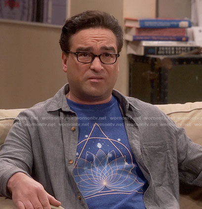 Leonard's lotus graphic tee on The Big Bang Theory