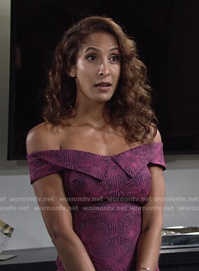Lily's pink and purple off-shoulder dress on The Young and the Restless