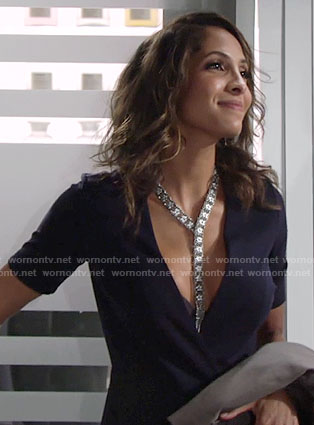 Lily's navy wrap dress on The Young and the Restless