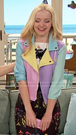 Liv's pastel colorblock jacket on Liv and Maddie