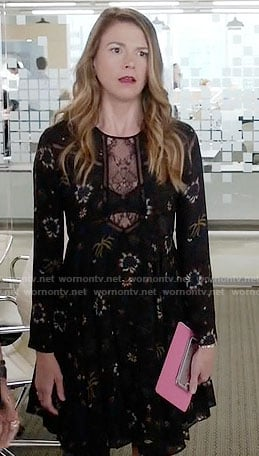 Liza's black floral dress with lace panel on Younger