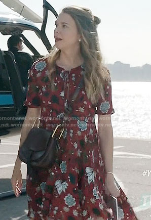 Liza's red floral short sleeved dress on Younger