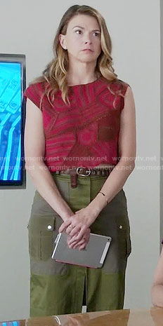 Liza's red patchwork crop top and green skirt on Younger