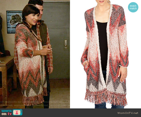 Lucky Brand Fringed Chevron Cardigan worn by Hannah Simone on New Girl