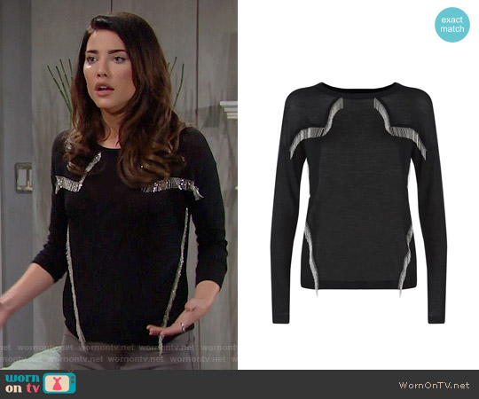 Maje Manhattan Fringe Top worn by Jacqueline MacInnes Wood on The Bold & the Beautiful