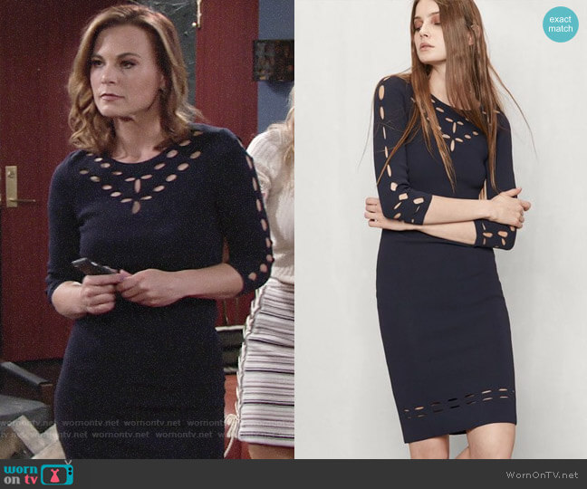 Maje Rainbow Cutout Dress worn by Phyllis Newman (Gina Tognoni) on The Young & the Restless
