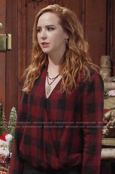 Mariah's red checked wrap top on The Young and the Restless