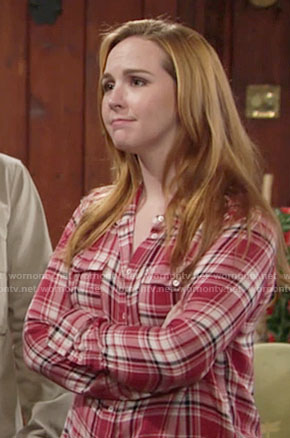 Mariah's red plaid shirt on The Young and the Restless